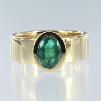 Smaragd Oval in Gelb Gold Ring (R-17011)