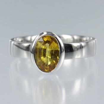 Saphire Gelb Oval in Weiss Gold Ring (R-17029)