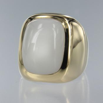 Mondstein Weiss Antique in Gelb Gold Ring (R-17035)