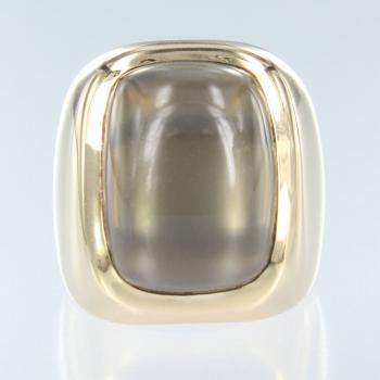Mondstein Grau Antique in Gelb Gold Ring (R-17036)