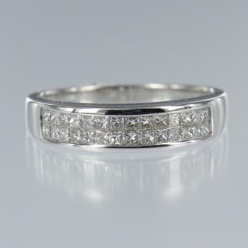 Diamant Carree in Weiss Gold Ring (R-17047)