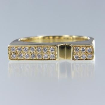 Diamant Rund in Gelb Gold Ring (R-17051)