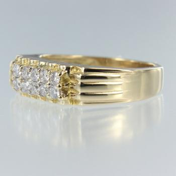 Diamant Rund in Gelb Gold Ring (R-17052)