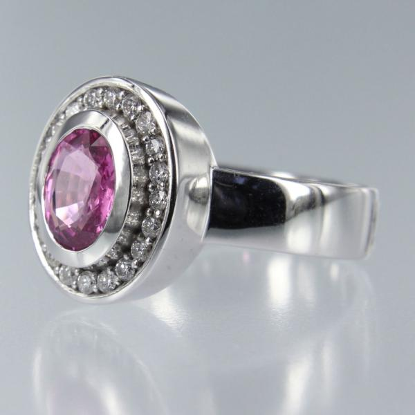 Saphire Pink Antique in Weiss Gold Ring mit Diamant Rund (R-17028)